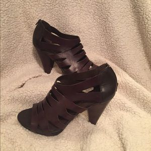 Franco-Sarto strapping leather cone heels 9 1/2